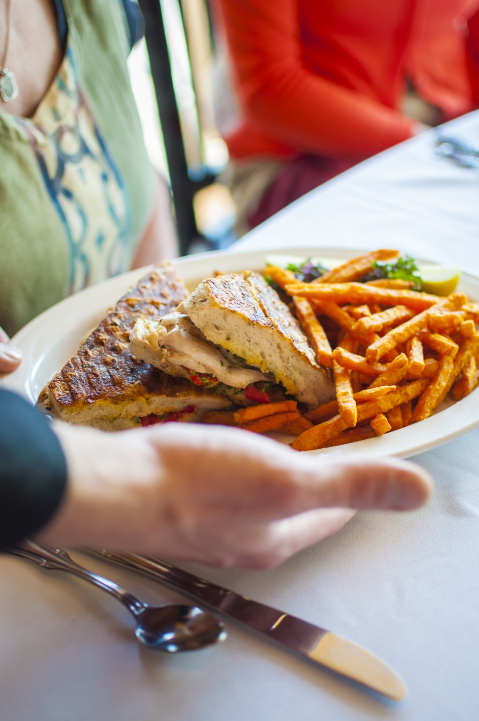 Panini plate served with fries