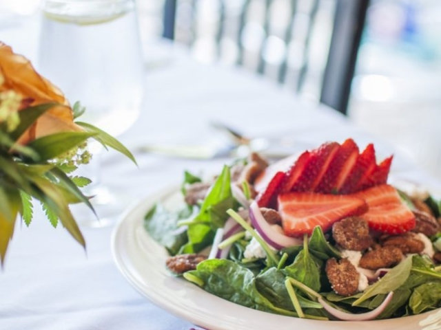 Cafe salad plate with strawberries