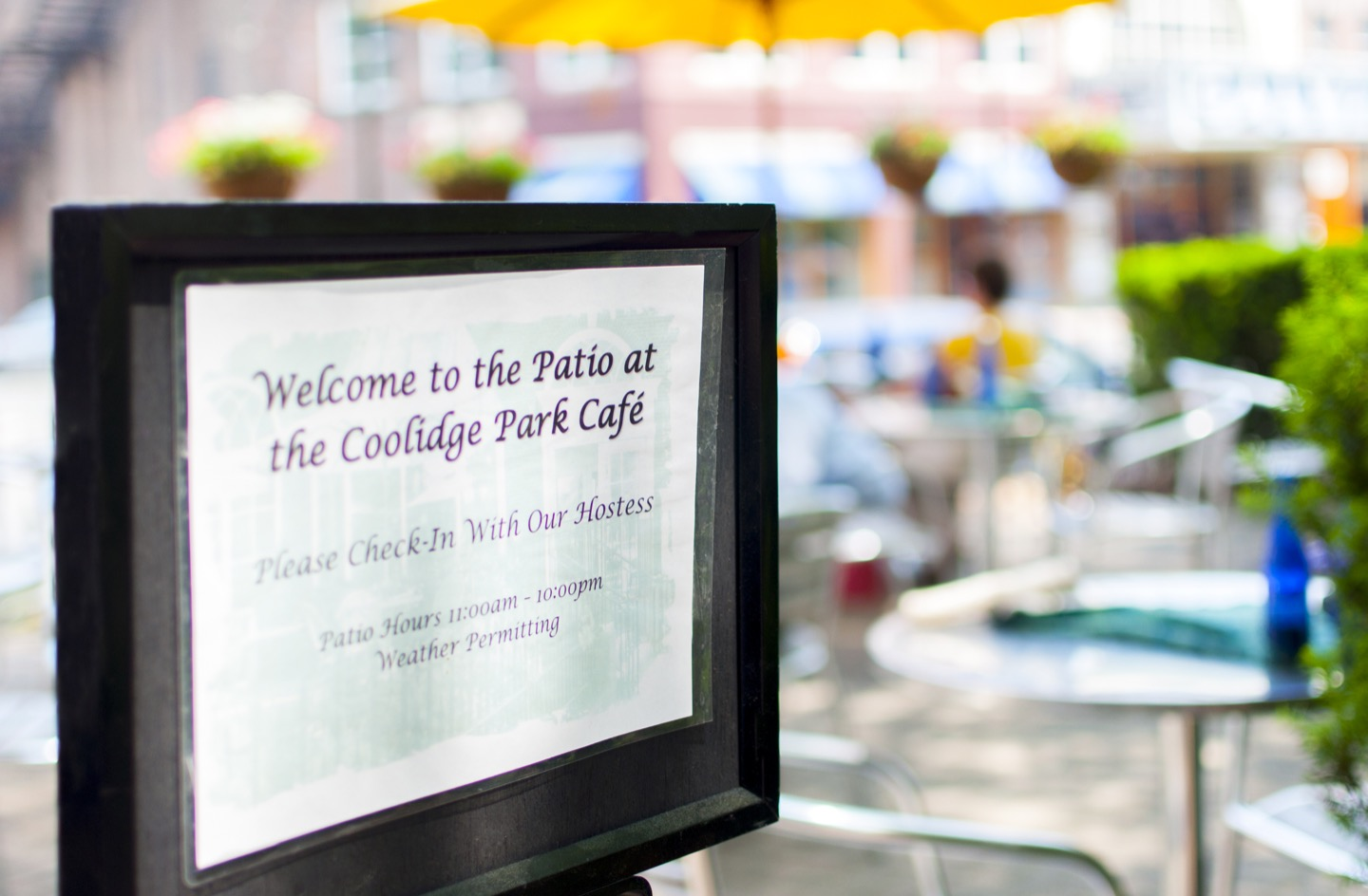 Coolidge Park Cafe entrance sign