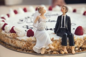 Wedding pie cake, couple figures