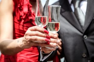 Wedding toast with champagne